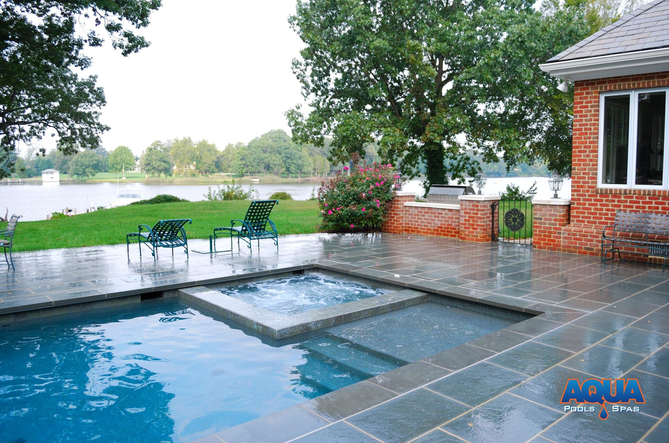 Another Example Of A Pool And Spa Combo Utilizing An Automatic Cover